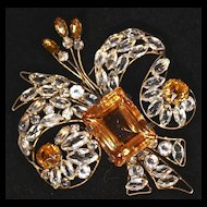 VOGUE - Huge FLEUR DE LIS Signed, Amber & Clear Unfoiled Rhinestone Vermeil Brooch/Pin