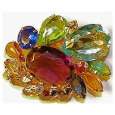 Multi-Colored Brooch/Pin - Large Clear Unfoiled Crystals Prong Set.