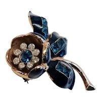 CORO TREMBLER -Fur Clip/Brooch - Dark Amethyst Color Rhinestones set in Blue Enamel Tulip on Gilded Metal - Rhinestone Trembler Center.