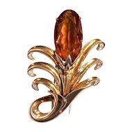 DeROSA  Large Vermeil  Flower Fur Clip - Amber Color Stone - Signed