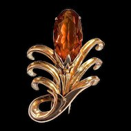 DeROSA  Large Vermeil  Flower Fur Clip - Amber Color Stone - Signed