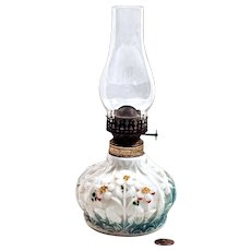 Consolidated  Lamp & Glass Co.. Miniature Floral Kerosine  Lamp