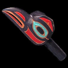 RAVEN RATTLE - Child's Ceremonial Northwest Coast Alaska Native Small Rattle