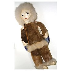 Vintage Early Tourist Trade Leather & Fur Alaskan Native Indian Doll