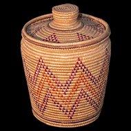 YUP'IK ESKIMO Grass Coil & Seal Gut Basket by Elsie Carl