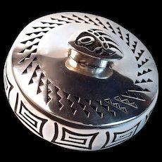 BERNARD DAWAHOYA - Hopi Bear Paw Silver Lidded Box/Bowl