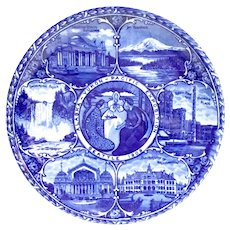 ROWLAND & MARSELLUS CO.  Alaska Yukon Pacific Exposition 1909  Worlds Fair Flow Blue China Plate