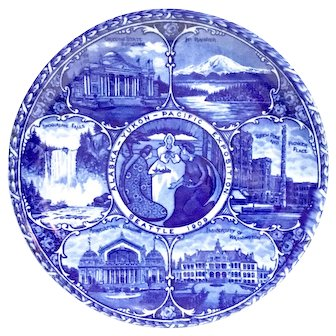 ROWLAND & MARSELLUS CO.  Alaska Yukon Pacific Exposition 1909  Worlds Fair Flow Blue China Plate