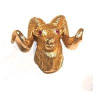 DALL SHEEP/RAM 10K Gold Tie Tack - Ruby Eyes - Bar & Chain