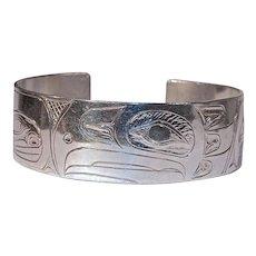 S. SHEAKLEY Eagle - Hand Carved Sterling Cuff/Bracelet