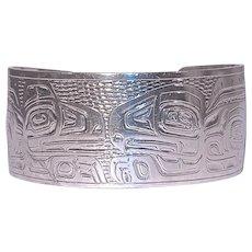 JOHNNY AVATOCK 'Love Birds' Hand Carved Sterling Bracelet/Cuff