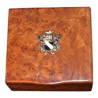 RUSSIAN ROMANOV  Era Karelian Beechwood Burl Cigarette Box - Peter Carl Faberge Dovetail Seamless Hidden Hinge - Edwardian Era