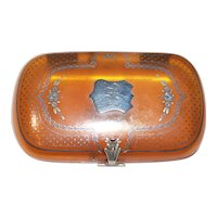 French Horn & Pique Case - Necessaire - Card Case Compact - Dance Purse with Sterling Silver Pique Inlay