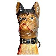 French Bulldog/Boston Terrier Composition Clothes Brush/Whisk Broom/Shoulder Brush - Half-Doll Brush