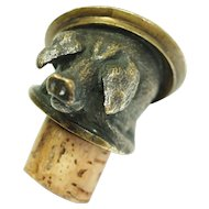 Heavy Bronze Boar Pig Sow Hog Bottle Stopper