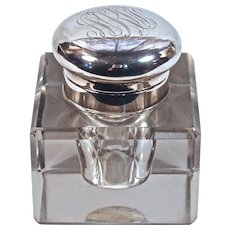 INKWELL/POT - American Sterling-Mounted Heavy Cut Crystal - Hallmarked