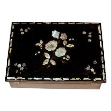 WRITING SLOPE w/ Inkwell Ink Pot - Papier Mache with Mother of Pearl Inlay