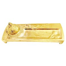 JULIAN VIARD INKWELL PEN TRAY  -   Gilded Bronze  French Art Nouveau - Signed and Stamped with Foundry  Susse Freres Mark