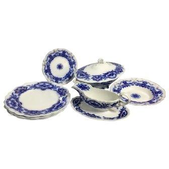 'ALASKA' FLOW BLUE Partial 9-pc. Dinnerware Set by W. H. Grindley