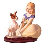 "ROYAL DOULTON ""Golden Days"" 1963 Young Girl & Dog/Terrier"