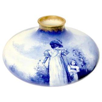 """ROYAL DOULTON - Bulbous Flow Blue """"Children In the Woods"""" Series Vase"""