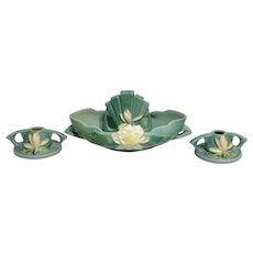 WATER LILY Console Set in Ceil Blue - 4-pc set:  Console with Flower Frog and Candle Holders