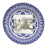 """ROYAL DOULTON """"A Message From The Outside World"""" Antique Flow Blue Gibson Girl Plate"""
