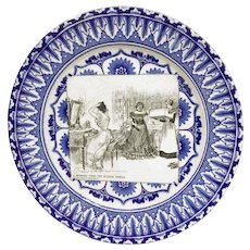 "ROYAL DOULTON ""A Message From The Outside World"" Antique Flow Blue Gibson Girl Plate"