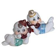 GOOGLE PHONE BABIES - !920s Porcelain Nippon - Pair - Adorable