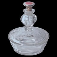 FOSTORIA PERFUME-POWDER JAR - Etched Glass & Sterling Guilloche Enamel Dauber/Stopper