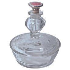FOSTORIA PERFUME-POWDER JAR - Etched Glass & Sterling Guilloche Enamel Dauber/Stopper
