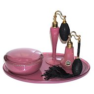 DeVILBISS - Mauve Pink  5-pc Dresser Set - Powder, Short & Tall Perfume Atomizers, Tray