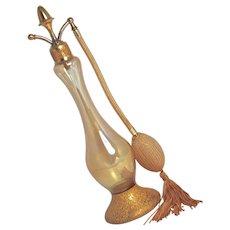 STEUBEN-DeVILBISS 1910 - 22K Gold Encrusted Steuben Crystal Perfume Atomizer - DeVilbiss Acorn-Top