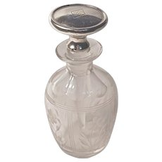 """PERFUME BOTTLT - Etched Cut Crystal - Sterling Dauber/Stopper, mono & dated """"MM July 30, 1925"""""""
