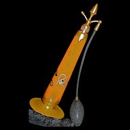 STEUBEN - DeVILBISS - Art Deco  Tango Orange Acorn-Top Perfume Atomizer