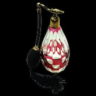 "BACCARAT  Cranberry Glass Cut Crystal Perfume Atomizer Etched ""Made in France for Saks Fifth Avenue"""