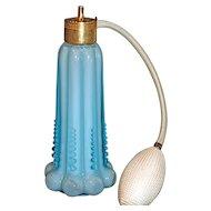 DeVILBISS  Powder Blue Beaded Melon Cased Glass Fenton Perfume Atomizer