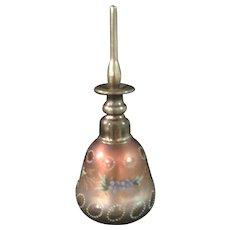 BOHEMIAN Cut & Enameled Perfume/Scent Bottle - Silvering Inside