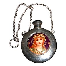 BIRMINGHAM 1913 Chatelaine Sterling Scent/Perfume Bottle Depicting Enamel of Young Lady/Girl