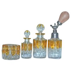 VAL ST. LAMBERT - Ca1900 Amber & Clear Perfume Atomizer, Covered Powder, Lg and Sm Cologne 7-pc Vanity Set