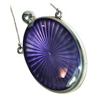 LAY DOWN PERFUME - Guilloche Amethyst Purple Enamel & Sterling Dance Perfume with Finger Chain