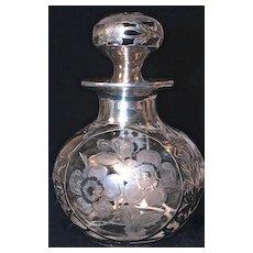 ABP SILVER DEPOSIT Art Nouveau Sterling Overlay/Deposit  Crystal Perfume Bottle