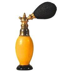 CZECH Yellow & Black Czechoslovakian Perfume Atomizer