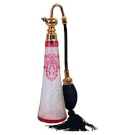 "BACCARAT - Cranberry Garland on Clear Etched Art Glass Perfume Atomizer. Marcel Franc Hardware engraved ""Made in France"""