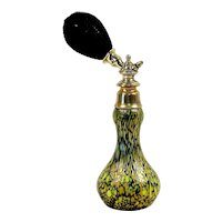 LOETZ Austrian Iridescent Oil Spot Glaze Perfume Atomizer - Small & Rare