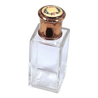 GUILLOCHE - Clear Crystal Perfume/Vanity/Cologne Travel Bottle with Yellow Floral Garland Guilloche Top