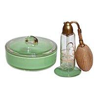 ART DECO DEVILBISS Perfume & Powder - Boxed Vanity Set