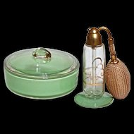 ART DECO DEVILBISS Perfume & Powder - Boxed Vanity Set