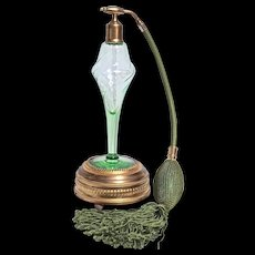 VOLUPTE Uranium Swirl Green Crystal Perfume Atomizer on Lador Swiss  Music Box - Art Deco