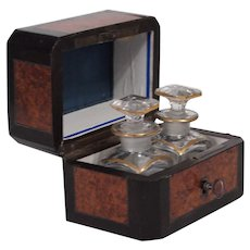 AMBOYNA BURL WOOD CASKET BOX with Fitted Interior Holding 2- Baccarat Gilded Scent/Perfume Bottles.